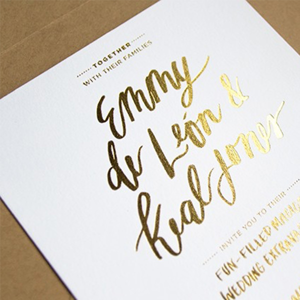 gold foil silver foil printing Invites